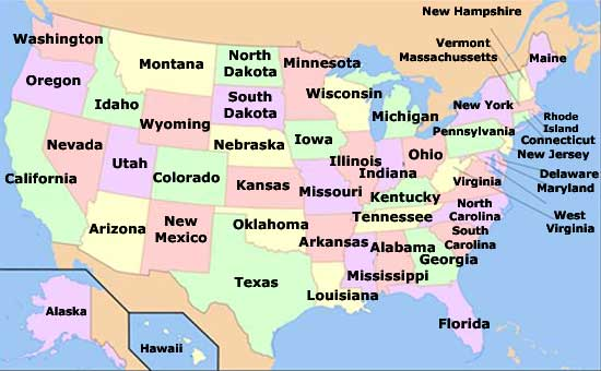 Map of the states of United States of America
